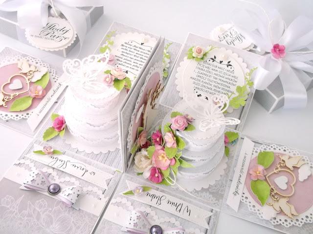 Pudełko ślubne z tortem