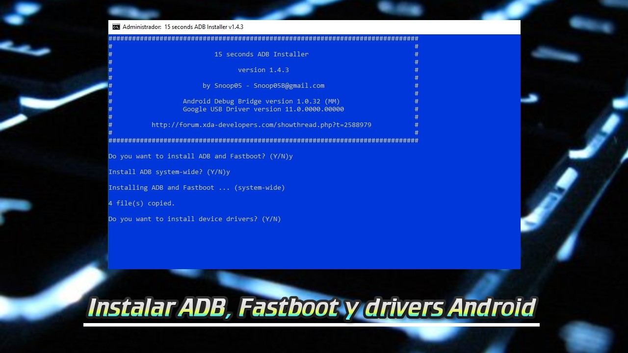 Instalar ADB, Fastboot y drivers Android