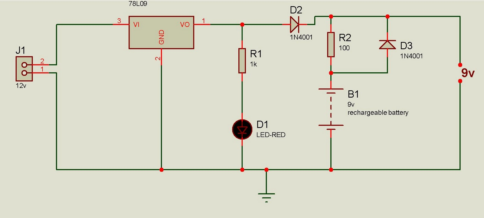 the circuit is simple to construct .Regulator IC 7809 volts regulated DC  for powering the circuit as well as to charge the rechargeable battery.