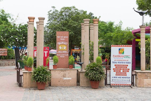 Entrance of Dilli Haat Market in New Delhi India