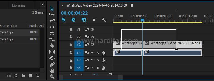 Block video pada timeline