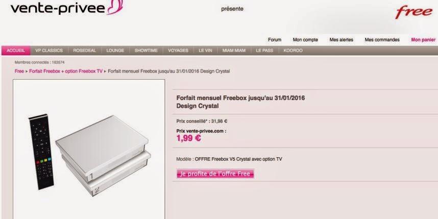 Free Box son offre illimitée à 1,99 euros sur vente-privée.com