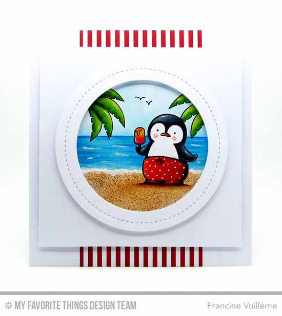 Handmade card from Francine Vuillème featuring Birdie Brown Penguins in Paradise stamp set, Circle STAX Set 2, and Lisa Johnson Designs Peek-a-Boo Circle Windows Die-namics #mftstamps