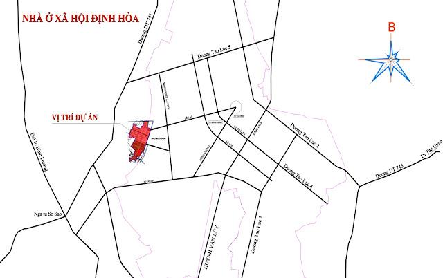 Vị trí Dự án Nhà ở xã hội Định Hòa TP Mới Bình Dương
