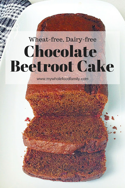 Wheat-free, dairy-free Chocolate Beetroot Cake - from www.mywholefoodfamily.com