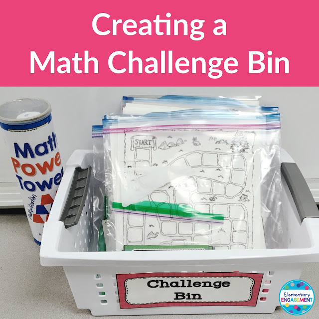 Creating a math challenge bin - Lots of freebies on this post!