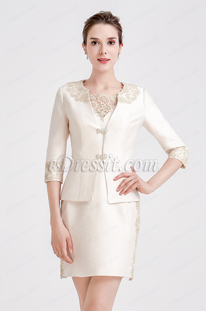 Beige Embroidery Two-piece Suit Mother of Bride Dress