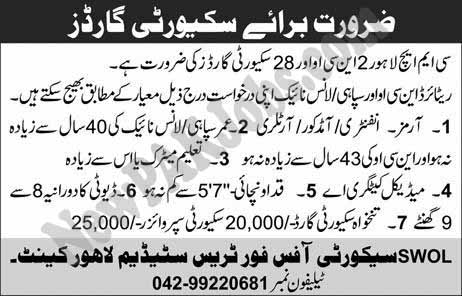 28 Jobs for Security Guards in CMH Lahore -Today 28 Oct 2018 Vacancies