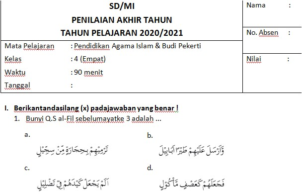 Soal PAT PAI Kelas 4 SD/MI Semester 2 Kurikulum 2013 Tahun 2020/2021 - Guru Krebet 3