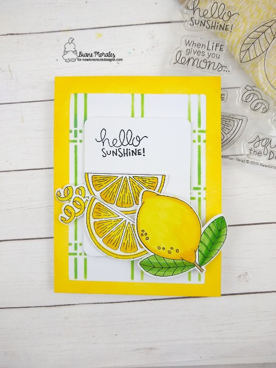 Hello Sunshine by Diane features Lemon Twist and Plaid stencil by Newton's Nook Designs; #newtonsnook