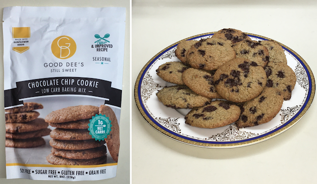 Side by side photos of Good Dee's Chocolate Chip Cookie Mix and baked cookies