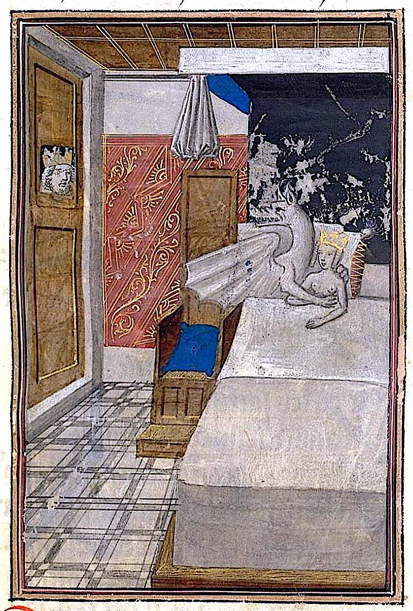 1400s Europe, a king watches his queen in bed with a demon