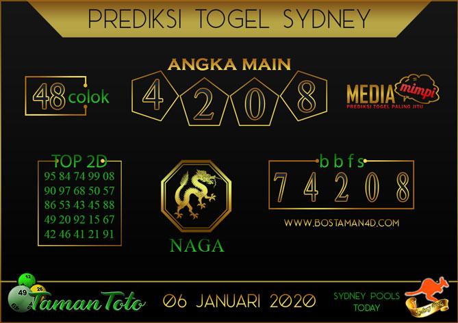 Prediksi Togel SYDNEY TAMAN TOTO 06 JANUARI 2020