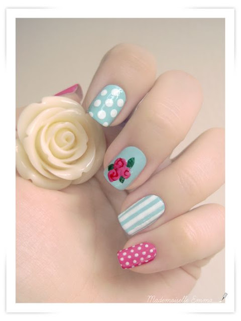 nail art design with vintage roses, dots, stripes & pink dotted accent nail