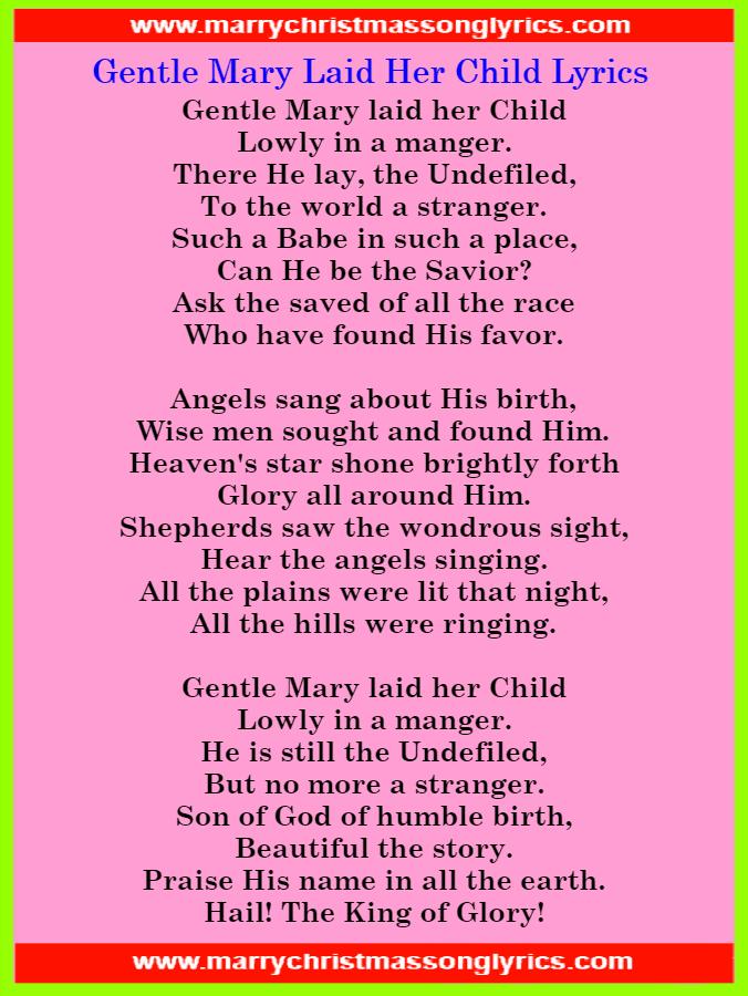 Gentle Mary Laid Her Child Lyrics Image