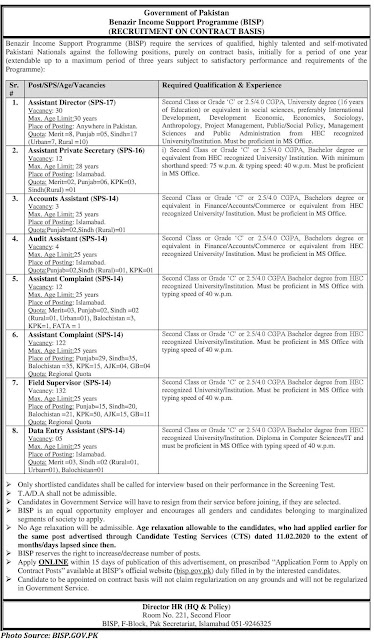 BISP Jobs 2021 - Latest Assistant Director, Accounts Assistant, Audit Assistant, Assistant Complaint, Data Entry Assistant Jobs in BISP February 2021