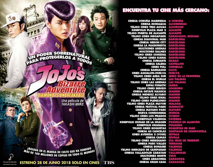 JoJo's Bizarre Adventure: Diamond is Unbreakable live-action estreno en cines - Selecta Visión