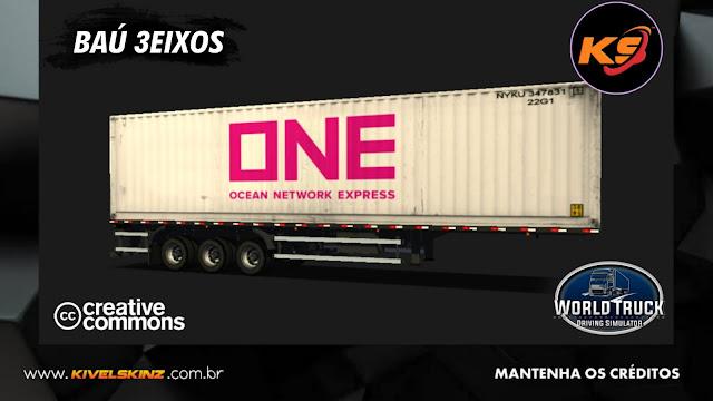 BAÚ 3EIXOS - CONTEINER ONE NETWORK EXPRESS WHITE