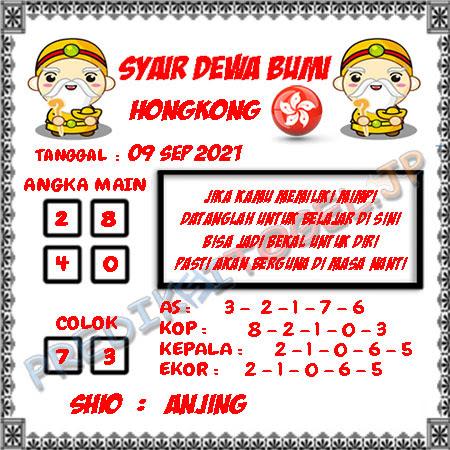 Syair Dewa Bumi HK Kamis 09-09-2021