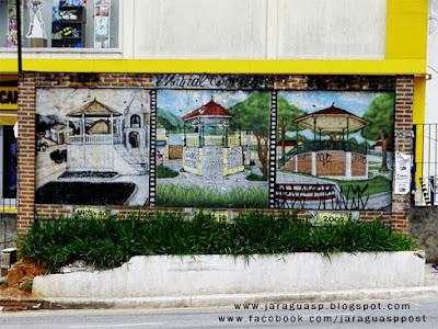 Foto2: Mural Local representa (em Graffiti Art) o Coreto de Taipas nas décadas de 1940, 1960 e 2000