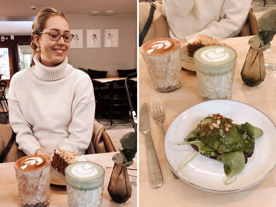 Coffee, matcha latte and avocado toast at cafe El Fant in Helsinki - Kahvi ja avokado leipä, kahvila El Fant, Helsinki
