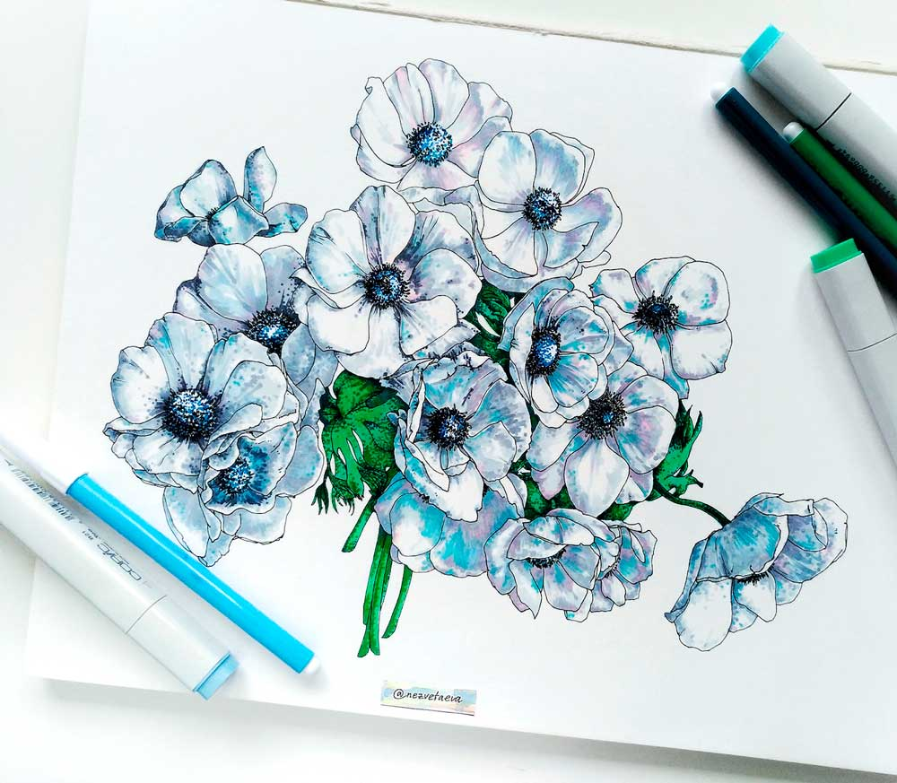 Sonia-Nezvetaeva, Markers, Copic, flowergraphic, dotwork, Anemone, sketch, illustration