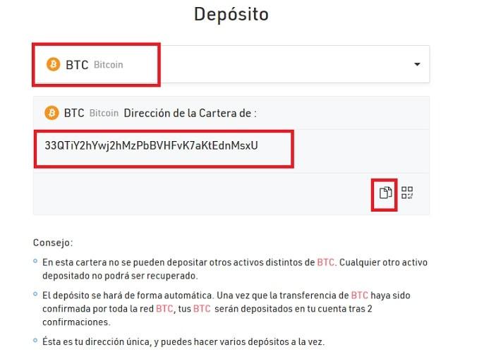 Depositar Kucoin Bitcoin desde Coinbase