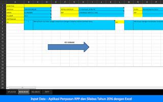 input data Aplikasi Penyusun RPP dan Silabus Tahun 2016 dengan Excel