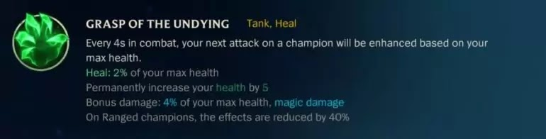 GRASP OF THE UNDYING Tank Heal