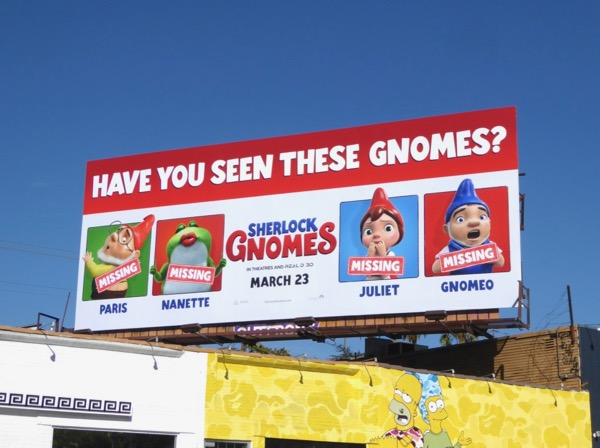 Sherlock Gnomes movie billboard