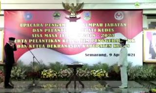 Gubernur Jateng Ganjar Pranowo Lantik Hartopo Bupati Kudus