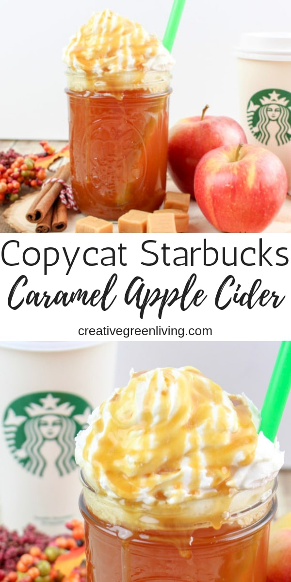 This is one of the best Starbucks copycat recipes! Learn how to make an organic version of a Caramel Apple Spice - a hot caramel apple cider recipe from starbucks that is a great alternative to a latte. The spiced apple cider is flavored with cinnamon, caramel and topped with whipped cream and a carmel drizzle. Yum! #creativegreenliving #creativegreenkitchen #starbucksknockoff #starbuckscopycat #starbucksrecipes #appleciderrecipe