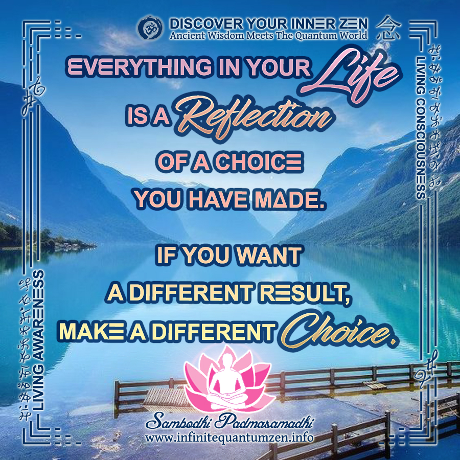 Everything in your Life is a Reflection of a choice you have made. If you want a different result, make a different Choice - Infinite Quantum Zen, Success Life Quotes