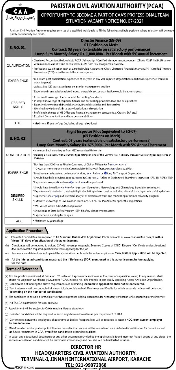 Latest Jobs in Pakistan Civil Aviation Authority PCAA 2021 - Apply At www.caapakistan.com.pk