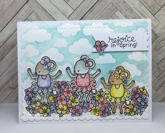 Rejoice in Spring by Debbie features The Nutcracker, Cloudy Sky, Easter Lily, Woodland Spring, and Frames & Flags by Newton's Nook Designs; #newtonsnook