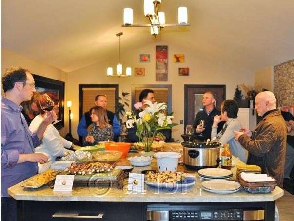 gathering around the foods