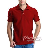 Kaos Polo Shirt Pria Warna Merah Cabe