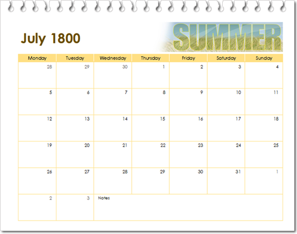 kalender juli 1800