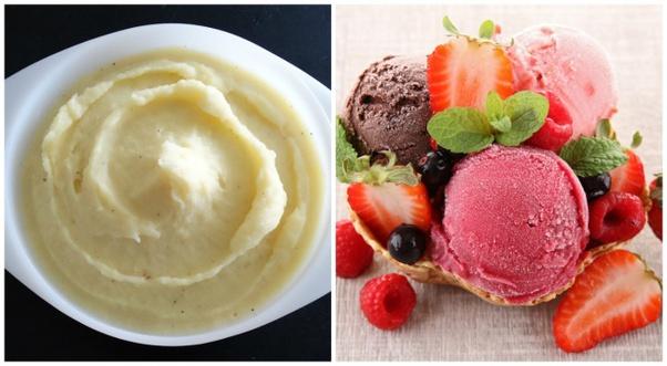 Renkli patates püresinden dondurma