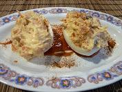 huevos rellenos de salmón ahumado y atún