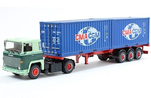scania lbt 141 1/43 cma cgm, coleção caminhões articulados altaya, coleção caminhões articulados planeta deagostini, coleção caminhões articulados 1:43