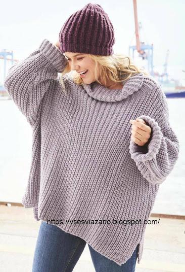Пуловер-наволочка: cвяжи себе за выходные, это быстро!