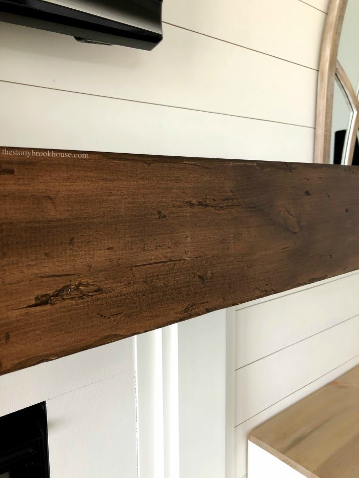 Faux Wood Beam Mantel close up of distressing