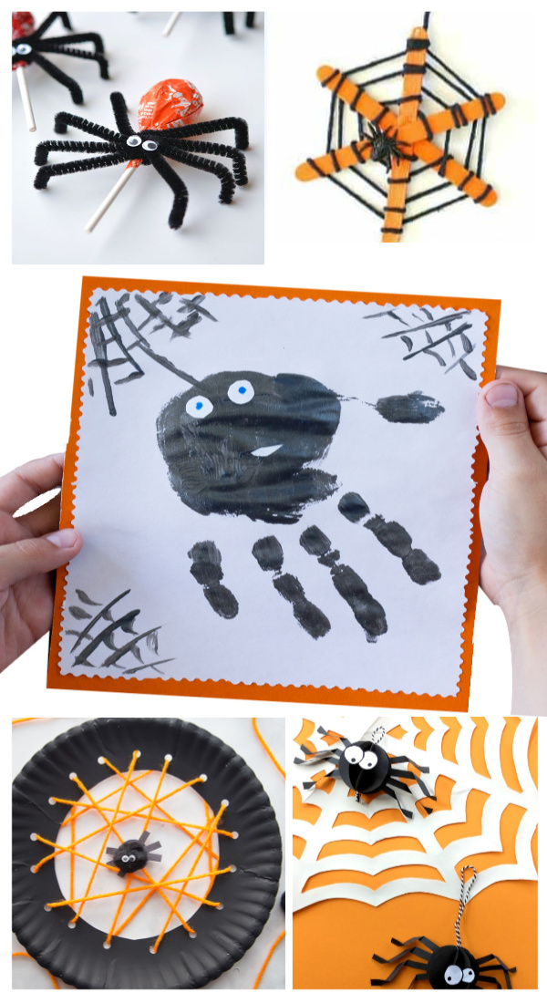 Make hand-print spiders for Halloween. Plus lots of other spider activities for kids. #spidercraft #spidercraftspreschool #spidercraftsfortoddlers #spidercraftsforkids #spiderart #spideractivitiesforpreschool #handprintart #handprintcrafts #handprintanimals #handprintspider #halloweencrafts #growingajeweledrose #activitiesforkids