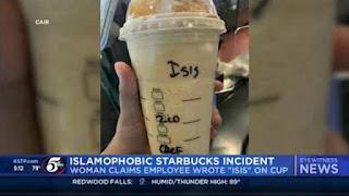 Islamophobia, Gelas Muslimah yang Pesan Minum di Starbucks Ditulis ISIS