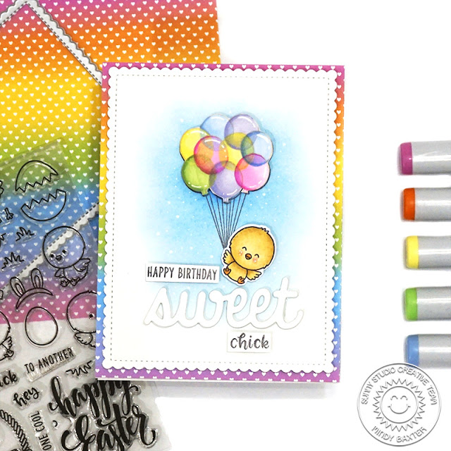 Sunny Studio Stamps: Chickie Baby Frilly Frame Dies Floating By Birthday Card by Mindy Baxter