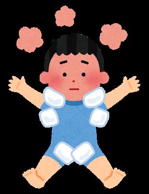 体を冷やす子供のイラスト