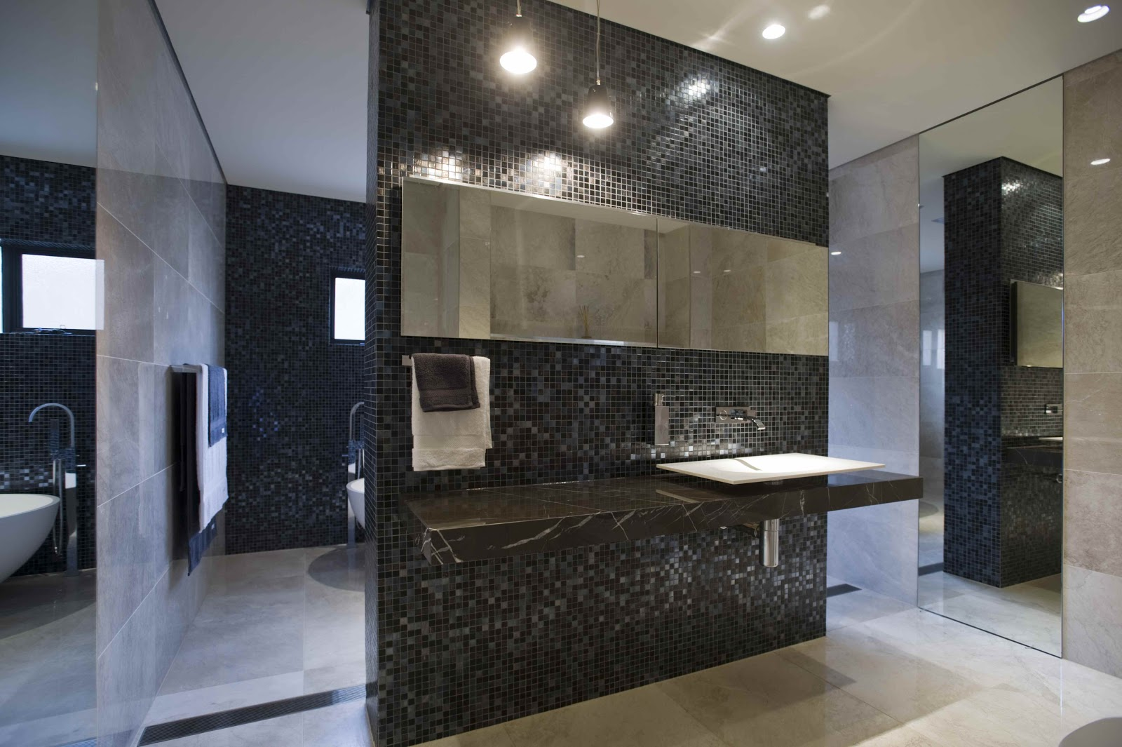 minosa large open bathroom feature the stunning bisazza iside mosaic