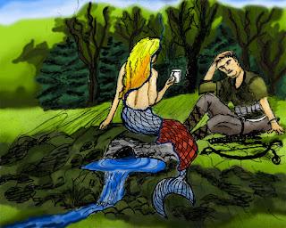 Die Nixe Saala reicht dem jungen Jäger Wasser in einem Becher