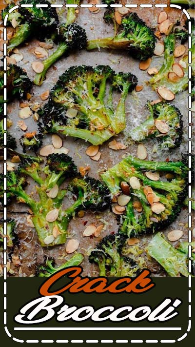 Roasted broccoli tossed with sliced toasted almonds, red pepper flakes, garlic, lemon juice, and aged pecorino cheese. Aka. 'crack broccoli'. You won't be able to stop eating this delicious side dish! Vegetarian and naturally gluten free
